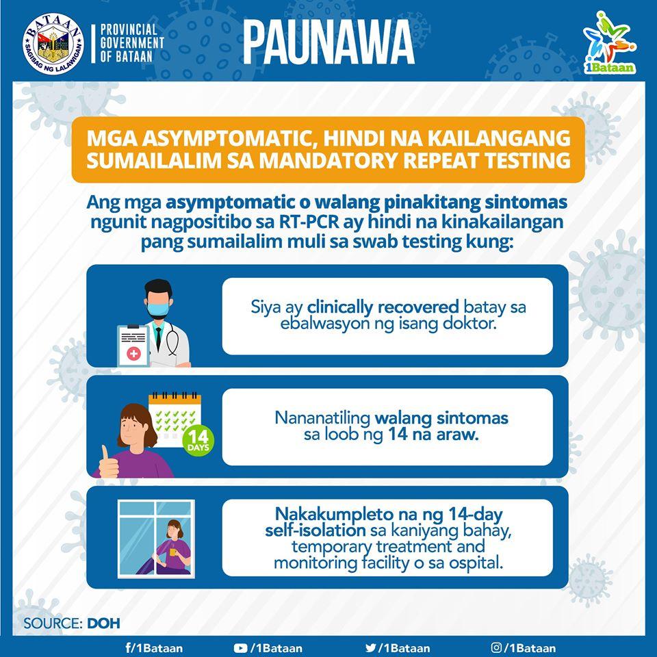 Paunawa - Mga asymptomatic, hindi na kailangang sumailalim sa mandatory repeat testing
